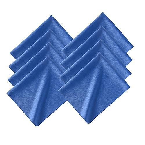 テイジン マイクロファイバークロス メガネ 眼鏡拭き ふきん ハンカチ クロス 青 ブルー 約20×16㎝ 8枚セット 日本製 起毛加工あり