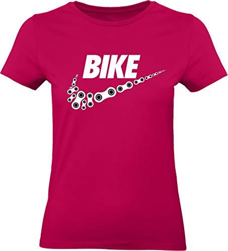Damen Fahrrad T-Shirt: Bike - Tailliert - Fahrrad Geschenke für Frauen - Radfahrerinnen - Mountain-Bike - MTB - BMX - Fixie - Rennrad - Tour - Outdoor - Sport - Frau - Urban City Streetwear - Fun (M)