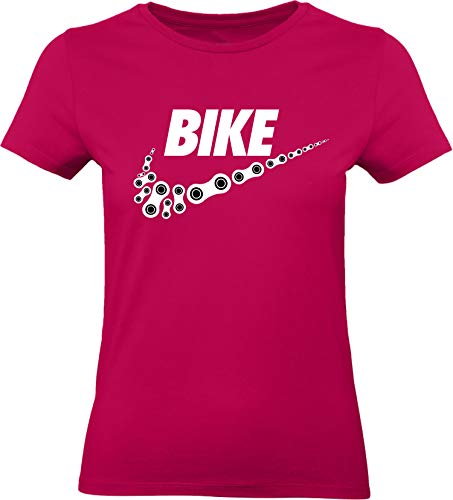 Damen Fahrrad T-Shirt: Bike - Tailliert - Fahrrad Geschenke für Frauen - Radfahrerinnen - Mountain-Bike - MTB - BMX - Fixie - Rennrad - Tour - Outdoor - Sport - Frau - Urban City Streetwear Fun (XXL)