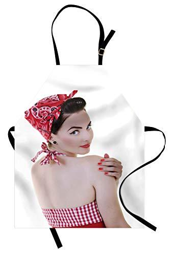 ABAKUHAUS Pin-up girl Keukenschort, Halter-Neck Bikini Lady, Unisex Keukenschort met Verstelbare Nekband voor Koken en Tuinieren, Veelkleurig