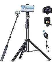 最新の三脚 軽量のスマホ 三脚 167cm、0.3kg の iphone 三脚 Bluetoothリモートコントロール付き三脚 スマホ、 PEKHUKY iPhone 12 11 Pro Max 8 Plus/Samsung S21/カメラ/GoProに対応 軽量 カメラスタンド