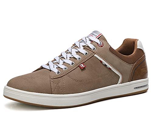 ARRIGO BELLO Zapatos Hombre Vestir Casual Zapatillas Deportivas Running Sneakers Corriendo Transpirable Tamaño 40-46 (45 EU, Y Marrón)