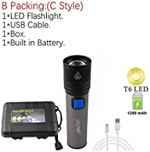 USB Rechargeable with Built in Battery Mini Portable LED Flashlight Zoom Torch Zoomable Flashlight Torch Camping Working L...