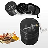 PentaQ Hand Cranked Herb Grinder with Pollen Catcher, 4 Pieces 2.5 Inches Large Capacity Spice Grinder Premium Aluminum Grinder for Herb and Spice, Black