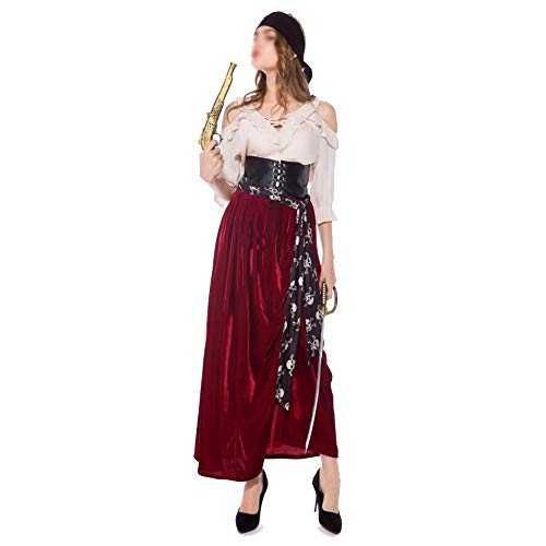 ZJYSM Ladies Halloween Costume Pirates of The Caribbean Cosplay Stage Costumes Opera Drama Performance Clothing (Color : A, Size : L)