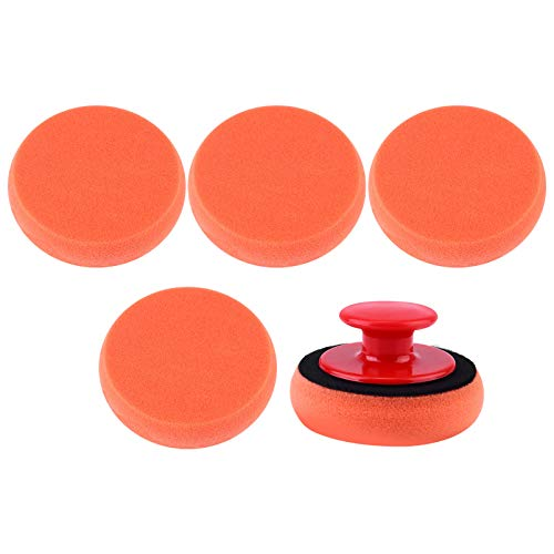VOSAREA - 6 esponjas para pulir carrocerías de coche con mango de esponja y cera para herramientas manuales
