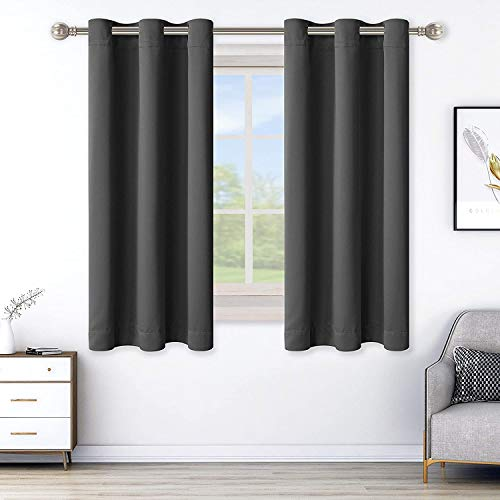 LORDTEX Blackout Curtains for Bedroom -Thermal Insulated Curtains with Grommet Top Room Darkening Noise Reducing Window Drapes for Living Room, 2 Panels, Dark Grey, 42 x 63 inch