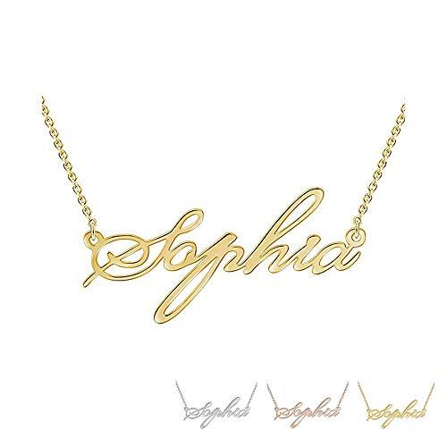 Grand Made Name Necklace Collar para mujer con nombre 925 joyería de plata esterlina para madre hermana Regalo personalizado de San Valentín (Gold, Plata)