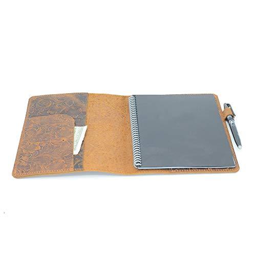 JJNUSA Funda compatible con Rocketbook Coverhecha a mano de piel auténtica envejecida para Everlast, Fusion, Wave Moleskin A4 con lazo para bolígrafo y tarjetero de 28 x 21,5 cm