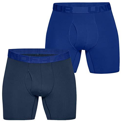 Under Armour Herren Tech Mesh 6in 2 Pack atmungsaktive Boxershorts für Männer, komfortable Unterwäsche mit Hosenschlitz, Blau, Small