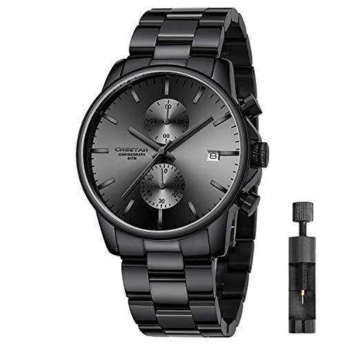 Herren-Armbanduhr mit Edelstahl und Metall, leger, wasserdicht, Chronograph, Quarzuhr, automatisches Datum, Bunte Zeiger (Schwarz Grau)