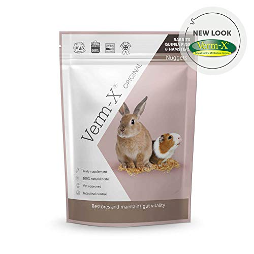 Verm-X Original All Natural Pellets for Rabbits, Guinea Pigs and Hamsters. Approved for Use on Organic Farms. SupportsIntestinal Hygiene. Vet Approved. Maintains Gut Vitality. Wormwood Free Recipe.