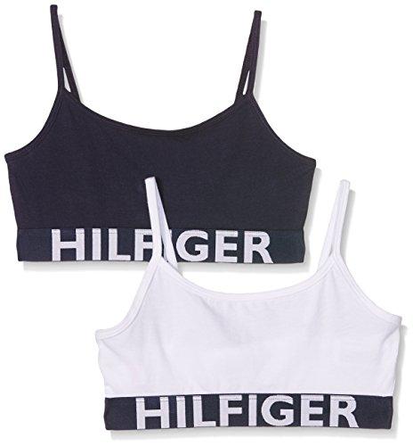 Tommy Hilfiger Mädchen 2P String Bralette Bustier, Weiß (White/Navy Blazer 902), (Herstellergröße: 10/1/2017)