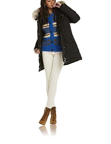 Scotch & Soda Maison Damen Hooded Parka with Removable fur Trim Jacke, Schwarz (Black 08), 40 (Herstellergröße: 3)