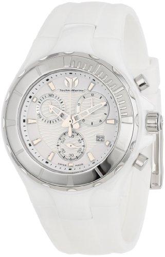 Technomarine 110030-1 - Reloj cronógrafo de Cuarzo Unisex, Correa de Silicona Color Blanco