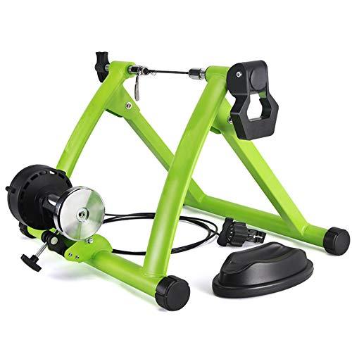 ZXCVB Home Trainer Vélo,pour Roue 26-28'' 700 C,Entraîner De Vélo Pliable en Acier avec Capacité De Charge 100KG pour Vélos De Montagne,Vélos Routes,Green-Trainer