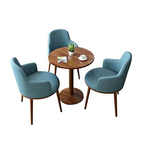 Silla combinada Sillas de Comedor,Oficina de Ventas Tienda de Té con Leche Pastelería Recepción Reunión Oficina Mesas y Sillas Combinación (Color : 3 Piece Set Blue)