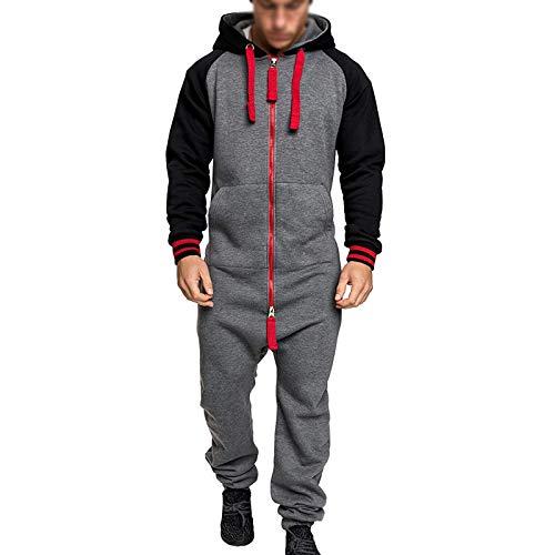 GMRZ Mono de correr para hombre, mono con capucha, mono de camuflaje, maillot de camuflaje, una pieza de pijama, gris rojo, XL