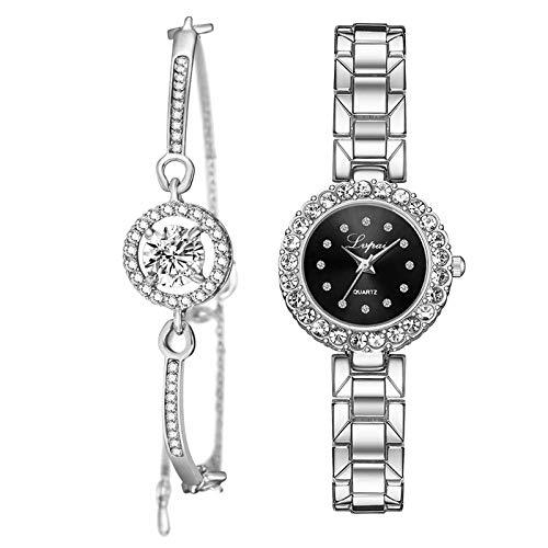 yotijar Reloj de Pulsera Y Reloj Rosa para Mujer, Brazalete de Moda, Reloj de Pulsera de Cuarzo - Negro Plateado de Plata