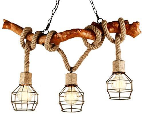 YUNZHI Araña Industrial clásico café de la luz 3 E27 luz Creativa del Restaurante del zócalo Antiguo Hierro luz Metal Pantalla Pendiente de la lámpara de la lámpara de Madera Retro Twine