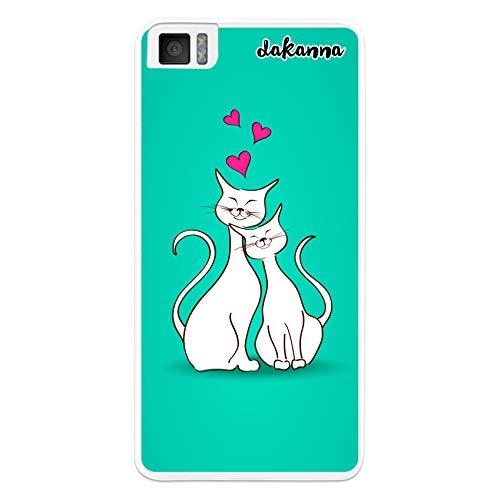 dakanna Hülle Hülle für BQ Aquaris M4.5 - A4.5 | Katzen verliebt | Transparent Silikon TPU Schutzhülle
