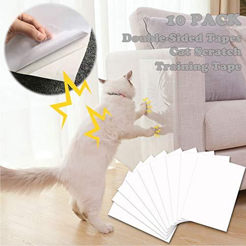 onebarleycorn - Cat Furniture Protector,Sofa Anti Scratch Pet Training Tape Self-adhesie Double-Sided Cat Scratch Protecting Furniture Transparent, 16' L X 12' W (10 PACK)