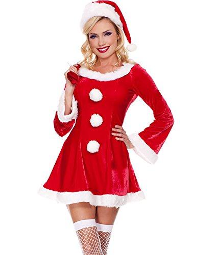 MissFox Mère Noël Déguisement Manches Longues Fantaisie Robe Rouge