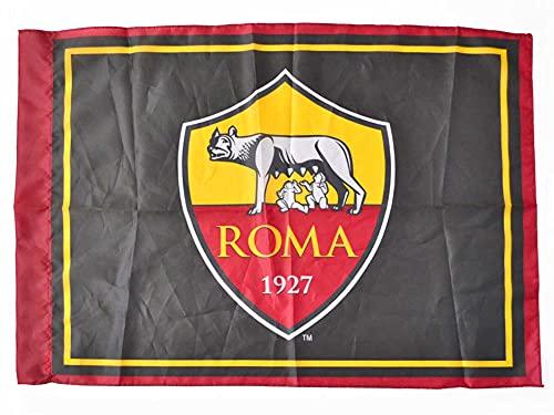 Bandiera Ufficiale Roma. Stemma AS Roma 1927. Colore Nero con contorno Giallo Rosso. Prodotto su licenza del club. 100x150 cm.
