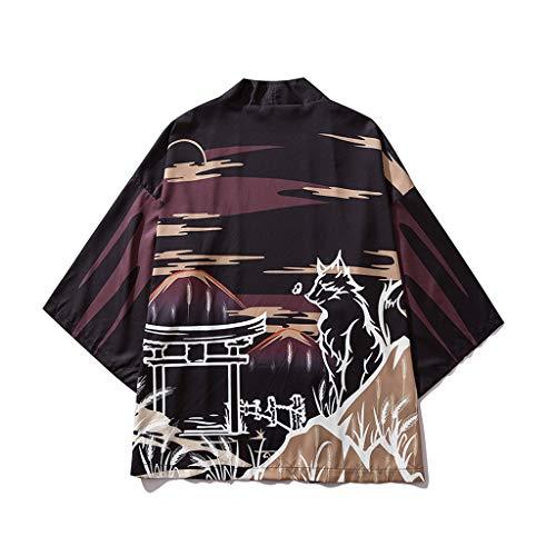 FRAUIT heren wolf druk Kimono zomer badjas Cardigan strand jas gebreide jas National Print Lose jas Yukata mantel Baggy Tops zomer