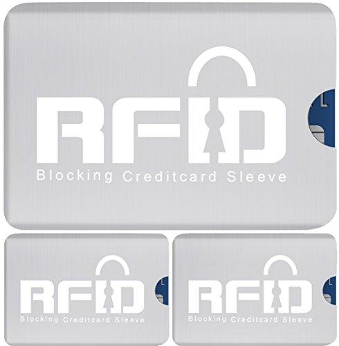 # 1 radio copertura chip RFID SET (3 x) Carta; Design Ultrasottile & Flessibile che si adatta ad ogni portafogli: Scelta n°1 per Prevenire furto di Identità, Furto di Dati, Scanner NPA e Radio RFID