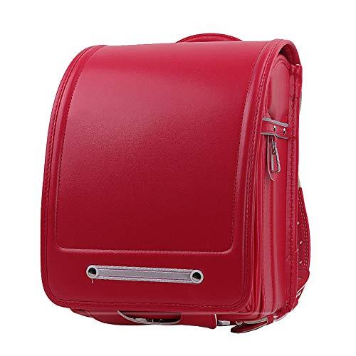 MIMI KING Japanische Schultaschen mit großer Kapazität für Grundschüler Automatikverschluss PU-Leder-Kinderrucksack für Jungen und Mädchen,Rot