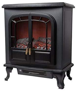 Estufa de leña ventilador eléctrico mango estilo de bronce calentador de efecto de llama realista material resistente a la llama viva mejor,Black