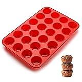 SveBake Mini Stampo per Muffin – Teglia in Silicone per 24 Muffin con Rivestimento Antiaderente, Muffin, Cupcake, Brownies, Torte, Pudding 34 x 23 x 2,5 cm, Ø 4,5 cm, Rosso