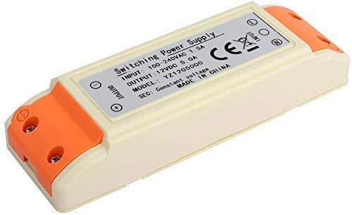Alimentatore LED 60 W Alimentatore trasformatore LED 12V DC, 5A, Nessuna tensione di interferenza per LED, incluse luci a striscia flessibile a LED e lampadine a LED G4, MR11, MR16, GU5.3