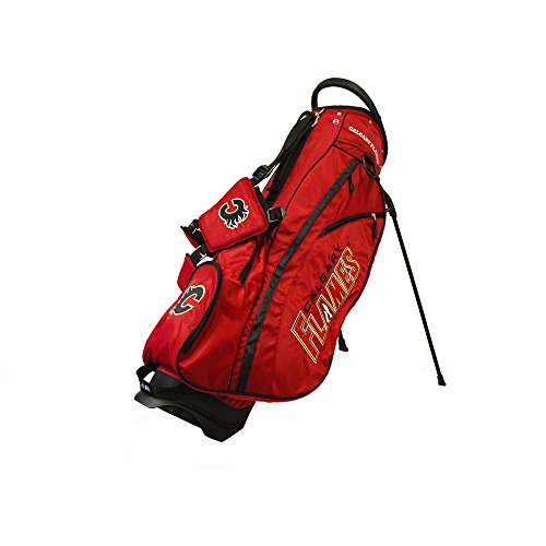 Team Golf NHL Calgary Flames Fairway Golf Stand Bag, Lightweight, 14-way Top, Spring Action Stand, Insulated Cooler Pocket, Padded Strap, Umbrella Holder & Removable Rain Hood
