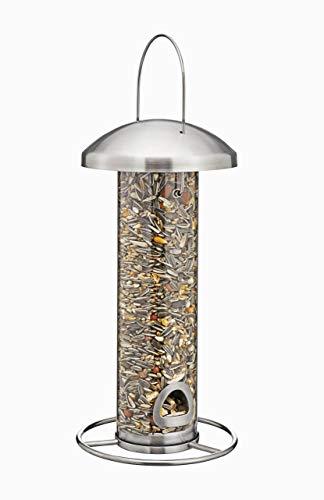 kamelshopping Vogelfutterspender zum Aufhängen, Edelstahl Vogelfutterstation mit Plexiglas-Säule, 450ml Fassungsvolumen, Futtersäule für unsere heimischen Wildvögel