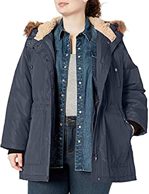 Madden Girl Women's Plus Size Multi Pocket Insulated Coat, Anorak Indigo, 1X