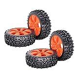 SDENSHI 4 Piezas Neumáticos de Rueda de Cubo de Ventilador para RC Buggy 1/8 Control Remoto - Naranja