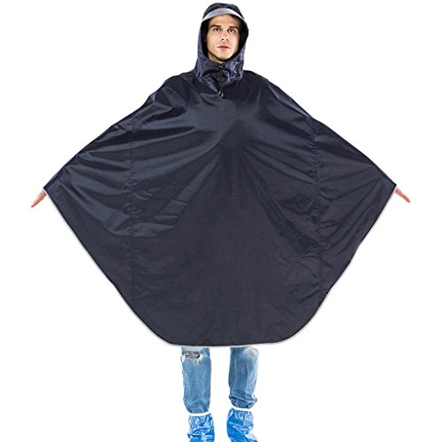 Dongyd Mannen En Vrouwen Fiets Enkele Regen Poncho Volwassen Losse Grote Riding Regenjas Transparant Hooded Student Regenkleding Donkerblauw