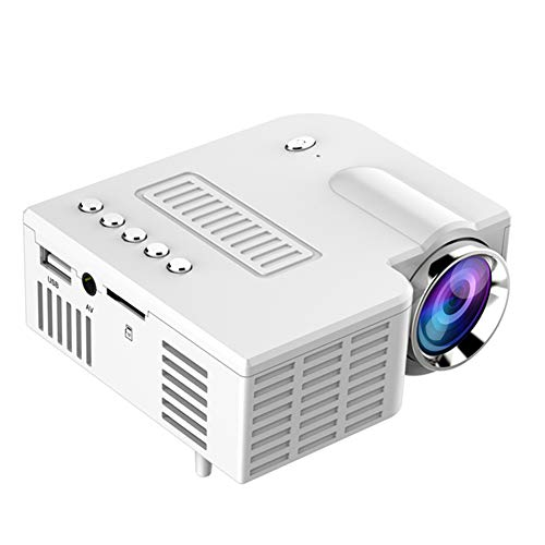 Mini proyector de cine en casa, mini proyector de películas portátil con 20.000 horas de vida de lámpara LED, Full HD 1080P, compatible con TV PS4, HDMI, VGA, TF, AV y USB, blanco