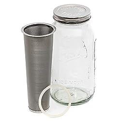 professional County Line Kitchen Cold Brew Mason Jar Coffee Maker – 2 qt, 64 oz – Sturdy Glass,…