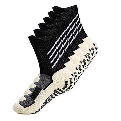 Gogogoal Anti Rutsch fußball Socke Herren Damen Rutschfest Sportsocken Socken Basketball Yoga Handball Trekking Laufen Radfahren Schwarz groß