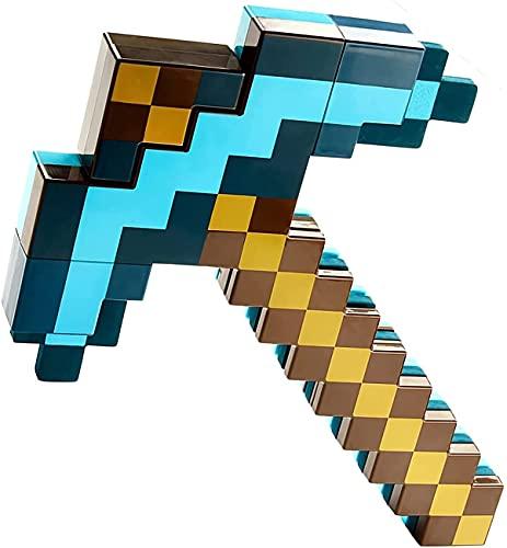QHYTL Minecraft, Blaue Schwert-Spitzhacke, Peripherie-Spielspielzeug, 2 in 1 Plastik-Deformationsschwert (52 cm) Spitzhacke (42 cm) Waffen-Requisiten, Fantasy-Imitationsspiel für Kinder