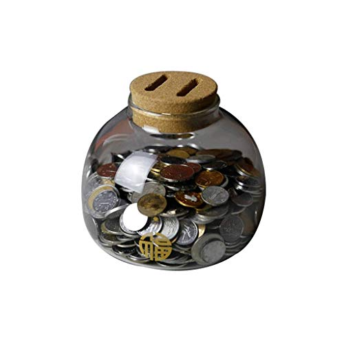 KKGASSAB Caja de Dinero Caja de Vidrio Hucha, depósito y retiro, Banco de Monedas Transparente, 4.7x5.3x5.3in, Mini pequeño Hace, niños/Bancos de Dinero para Adultos