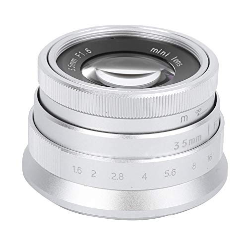 Obiettivo della fotocamera, vetro ottico in lega 35mm F1.6 Lente per aspetto vintage Lente per fotocamera con grande apertura manuale a fuoco fisso per scenari umanistici(per Sony E Mount Sliver)