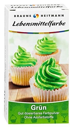 Brauns Heitmann levensmiddelenverf groen: kleurpoeder voor fondant marsepein cupcake room taart, vrij van AZO-kleurstoffen, smaakneutrale natuurlijke kleurstof, 8 g