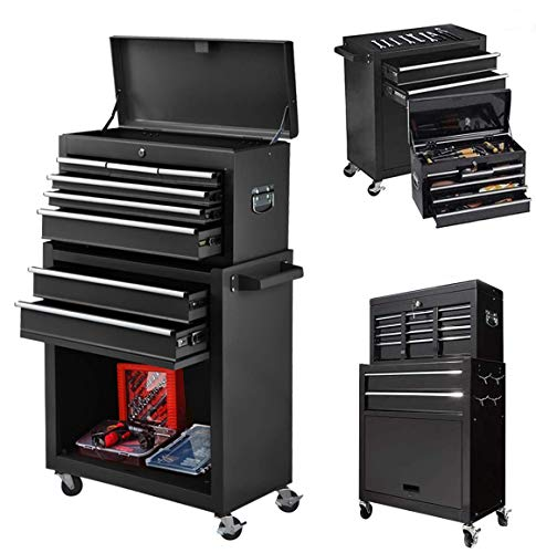 8-Drawer Big Rolling Tool Chest Storage Cabinet, High tool organizers Removable Portable Box with Lock, Tool Cart With 4 Wheels For Garage and Warehouse (New Black)