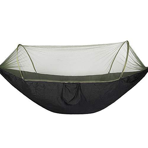 Hamaca portátil para acampar al aire libre con mosquitos insectos NetNap para acampar al aire libre (tamaño L; Color: Negro)
