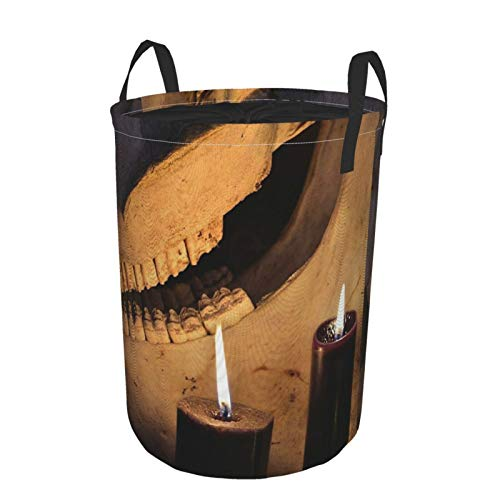 Collapsible Large Clothes Hamper Household,Horror Halloween And Black Magick Concept Scary Teeth Of Horse Skull And Two Black Candles,Storage Bin Laundry Basket Waterproof with Drawstring,14' x 19'