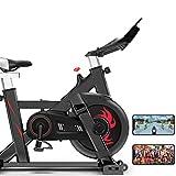 YourBooy Bicicleta estática para Interiores, Eventos de Video y aplicación multijugador, Bicicleta de Ciclo silenciosa con Manillar y Asiento Ajustables, Entrenador de Abdominales,Negro